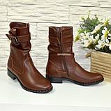 Ботинки женские кожаные демисезонные коричневые на маленьком каблуке, фото 6