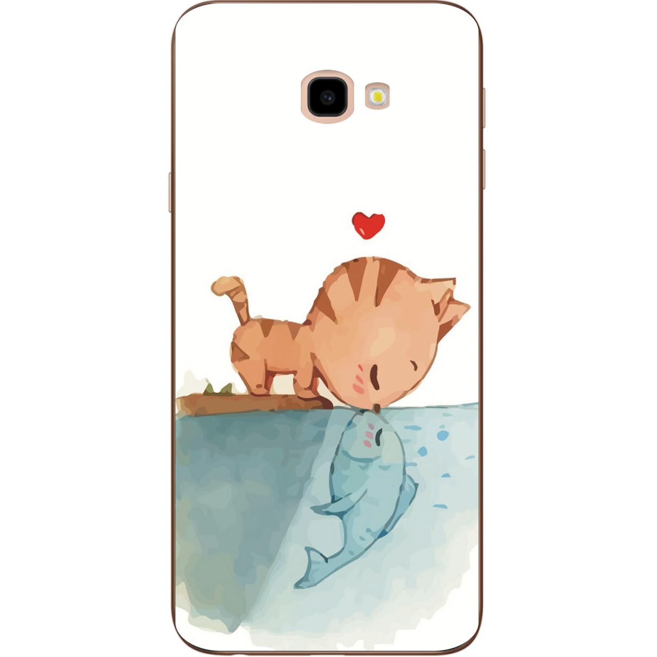 Бампер оригинальный чехол с принтом для Samsung Galaxy J4 Plus 2018 Поцелуй кота