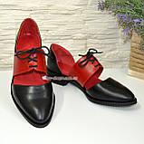 Стильные женские кожаные туфли на низком ходу, цвет черный/красный, фото 4