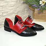 Стильные женские кожаные туфли на низком ходу, цвет черный/красный, фото 5