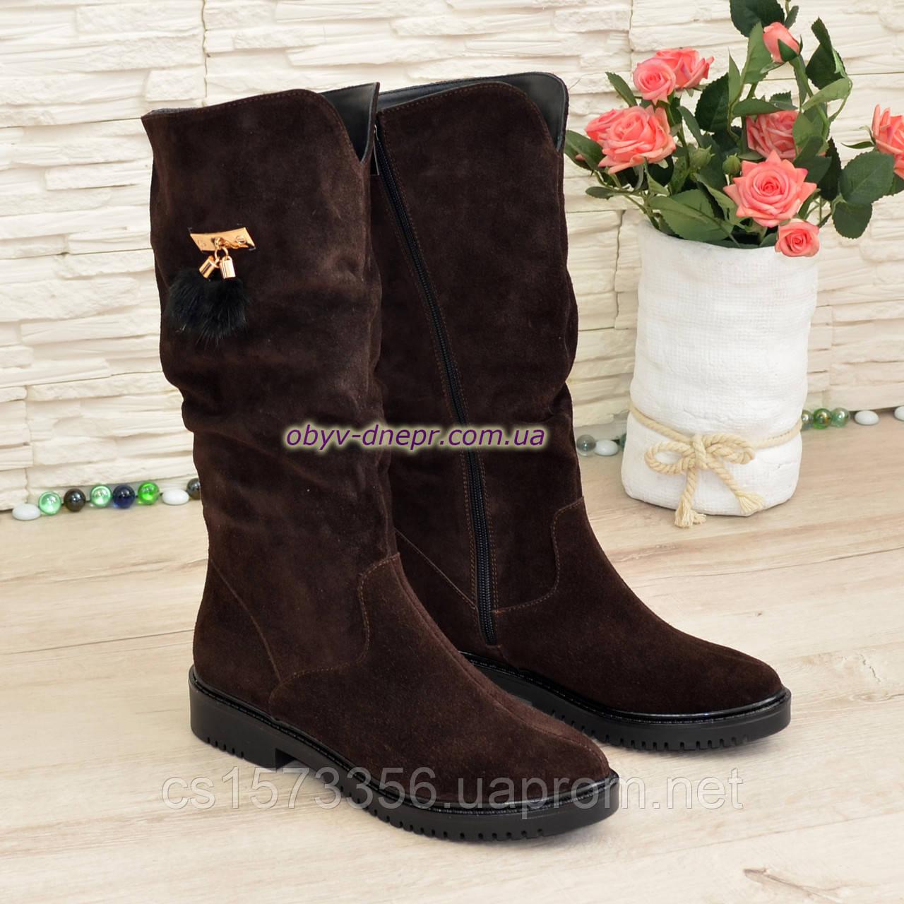 Полусапоги замшевые демисезонные женские на маленьком каблуке, цвет коричневый