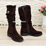 Полусапоги замшевые демисезонные женские на маленьком каблуке, цвет коричневый, фото 3