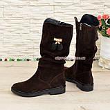 Полусапоги замшевые демисезонные женские на маленьком каблуке, цвет коричневый, фото 4