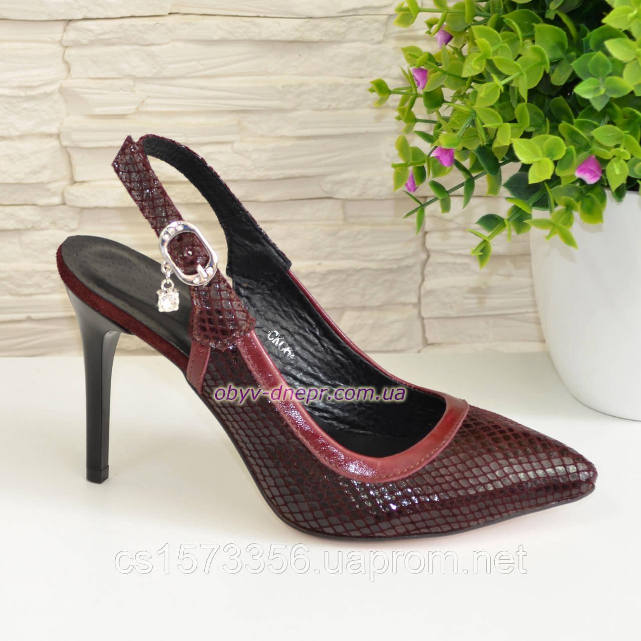 Стильные бордовые туфли женские на шпильке, натуральная замша