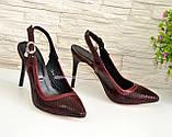 Стильные бордовые туфли женские на шпильке, натуральная замша, фото 2