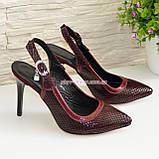 Стильные бордовые туфли женские на шпильке, натуральная замша, фото 4