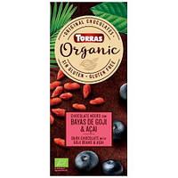 Шоколад с ягодами годжи и асаи Torras Organic, 100г