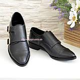 Женские черные туфли, натуральная кожа флотар, фото 2