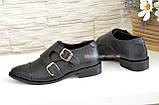 Женские черные туфли, натуральная кожа флотар, фото 3