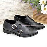 Женские черные туфли, натуральная кожа флотар, фото 4