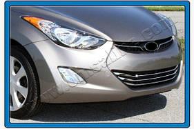Накладки на решетку (3 шт, нерж.) Hyundai Elantra 2011-2015 гг.