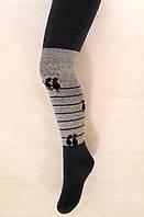 Колготки махровые детские темно-серого цвета с котиками, фото 1