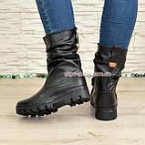 Женские кожаные демисезонные ботинки на тракторной подошве, фото 2