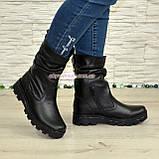 Женские кожаные демисезонные ботинки на тракторной подошве, фото 3