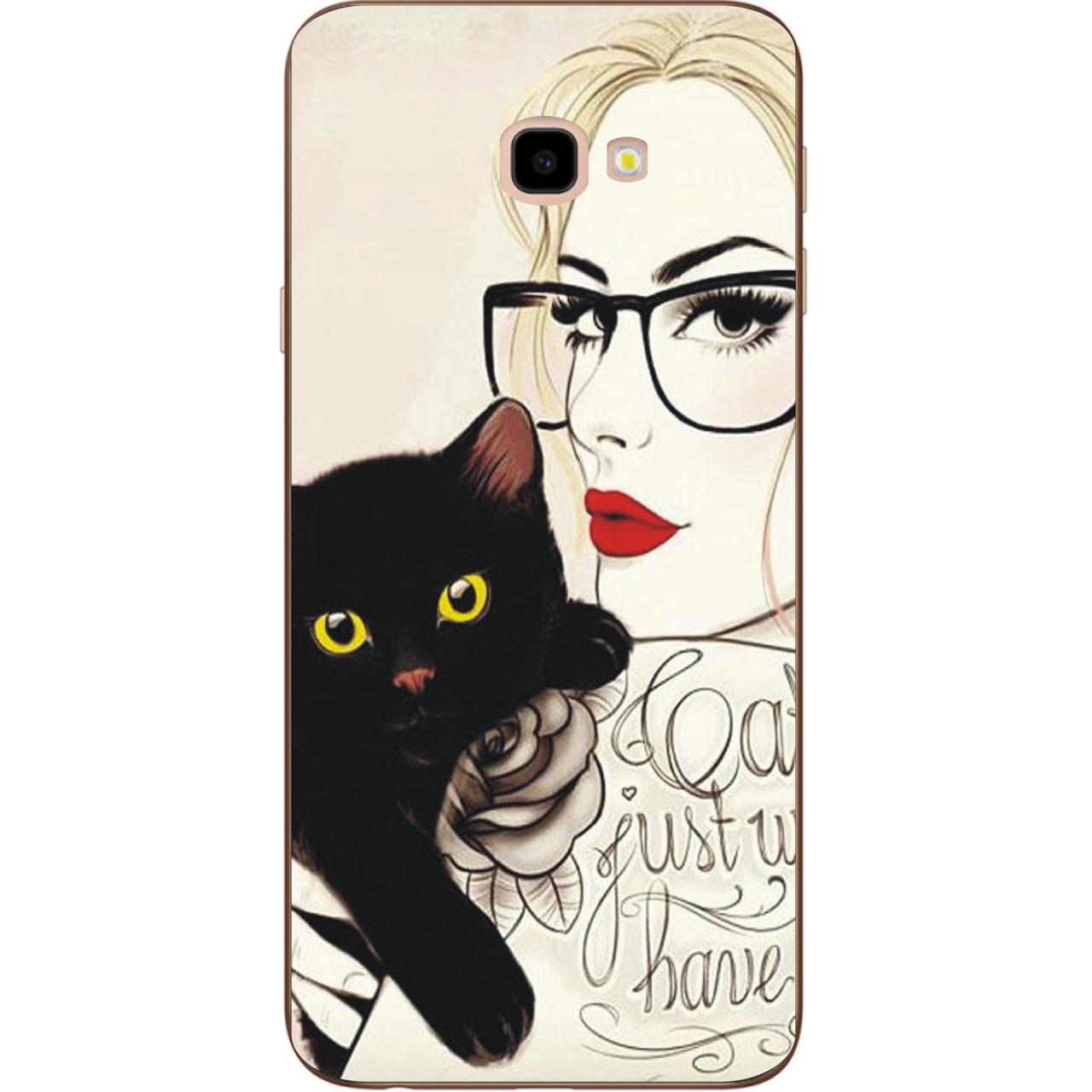 Бампер оригинальный чехол с принтом для Samsung Galaxy J4 Plus 2018 Девушка с котом
