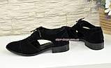 Замшевые туфли женские на низком ходу, цвет черный, фото 3