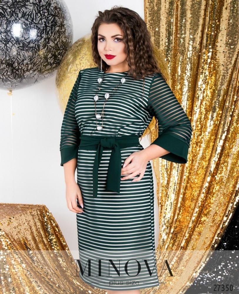 df1ef02be40 Зеленое двухслойное платье прямого кроя в полоску большого размера - Одежда больших  размеров PlusSize+ в Харькове