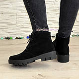 Ботинки демисезонные женские замшевые на шнуровке, утолщенная подошва, фото 2