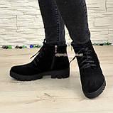 Ботинки демисезонные женские замшевые на шнуровке, утолщенная подошва, фото 3