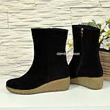 Женские демисезонные замшевые ботинки на танкетке, фото 4