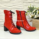 Ботинки демисезонные комбинированные на устойчивом каблуке, фото 4