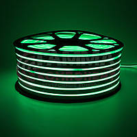Светодиодный неон 220В зеленый smd 2835-120 лед/м 12Вт/м, герметичный