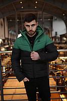 Мужская зимняя куртка в стиле Nike (black/green), зимняя мужская куртка Реплика ААА