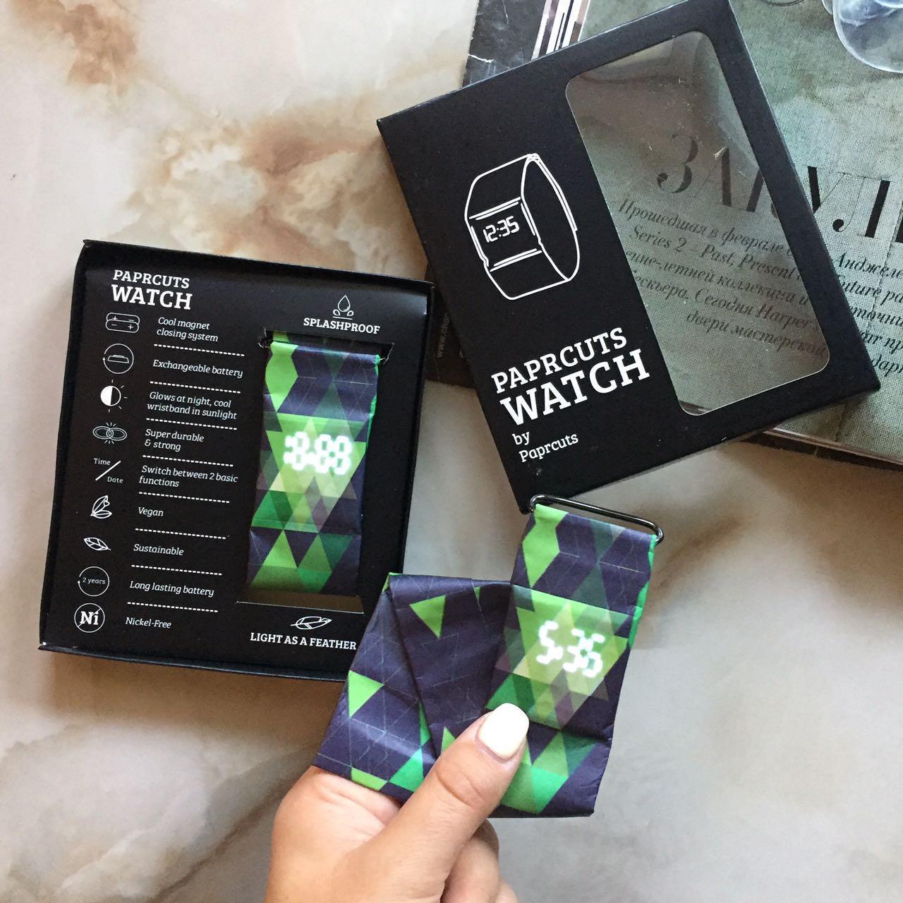 Бумажные часы Paper Watch Водонепроницаемые Triangles Blue/Green