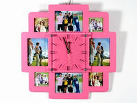 Часы Настенные Фигурные (39х39х5 см) Дерево. Famille Carr?s. Семейные Квадраты. Розовый