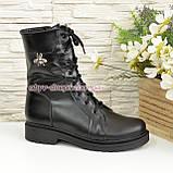 Ботинки высокие демисезонные кожаные на утолщенной подошве, декорированы фурнитурой, фото 2