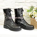 Ботинки высокие демисезонные кожаные на утолщенной подошве, декорированы фурнитурой, фото 4