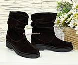 Ботинки женские демисезонные на низком ходу, из натуральной замши коричневого цвета, фото 3