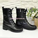Стильные кожаные демисезонные ботинки на низком ходу, на шнурках, фото 3