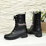 Стильные кожаные демисезонные ботинки на низком ходу, на шнурках, фото 4