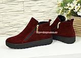 Ботинки женские замшевые демисезонные на утолщенной подошве, цвет бордо, фото 3