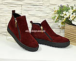 Ботинки женские замшевые демисезонные на утолщенной подошве, цвет бордо, фото 4