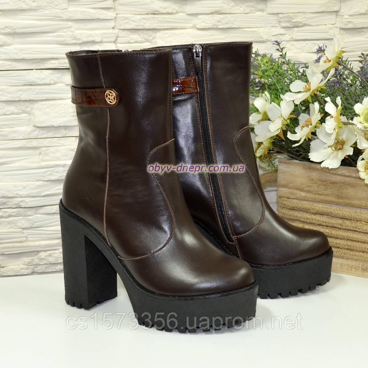 Ботинки женские кожаные демисезонные на высоком устойчивом каблуке