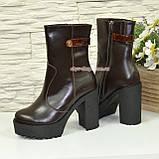 Ботинки женские кожаные демисезонные на высоком устойчивом каблуке, фото 2