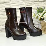 Ботинки женские кожаные демисезонные на высоком устойчивом каблуке, фото 3