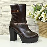 Ботинки женские кожаные демисезонные на высоком устойчивом каблуке, фото 4