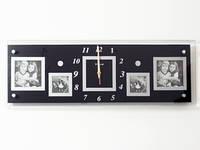 Часы Настенные Фигурные (57х20х5 см) Дерево. Famille Notre Maison. Семейные Наш Дом. Чёрные