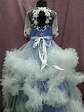 Платье детское нарядное с пушистой юбочкой (платье-облако) на 6-10 лет синее с белым, фото 3