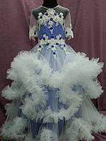 Платье детское нарядное с пушистой юбочкой (платье-облако) на 6-10 лет синее с молочным, фото 1