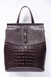 Сумка-рюкзак из натуральной тисненой кожи Galanty 10136-C Coffee