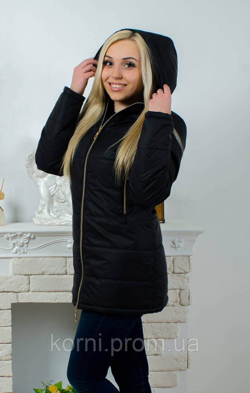 6138cd80462 Куртка удлиненная женская черная - Интернет-магазин