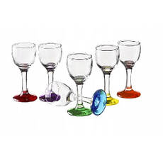 Стопка, набор 6 штук, 40 мл, цветное дно, стекло, фото 2