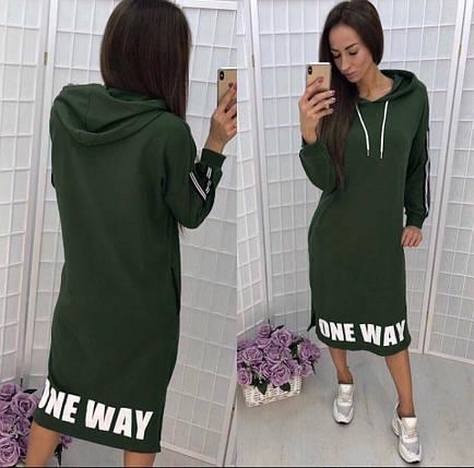 Платье средней длины свободное с длинными рукавами с капюшоном зеленое, фото 2