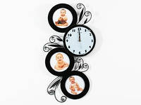 Часы Настенные Фигурные. Дерево (60х32х5 см) Famille Аjoure. Семейные Ажур. Черные
