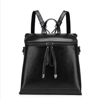 Женский кожаный рюкзак городской. Модный маленький рюкзак женский сумка рюкзак трансформер (черный)