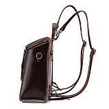Жіночий шкіряний рюкзак міський. Модний маленький рюкзак жіночий сумка рюкзак трансформер (чорний), фото 3